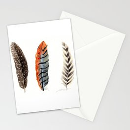 Dotted & Striped Feathers Stationery Cards