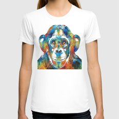 Colorful Chimp Art - Monkey Business - By Sharon Cummings White MEDIUM Womens Fitted Tee
