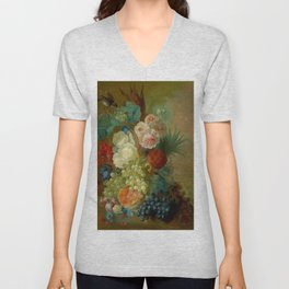 "Jan van Os ""Still life of peonies, a cock's comb and morning glories"" Unisex V-Neck"