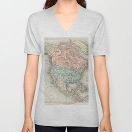 Amerique du Nord from Atlas Universel by Artheme Fayard, pseudonyme F de la Brugere (1836-1895), published in 1878, vintage cartographic map of the United States of America, Canada and Mexico Unisex V-Neck