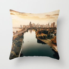 Chicago view from a drone Throw Pillow