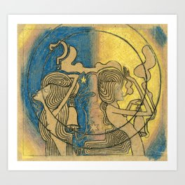 Two stylized female figures with clock in hand by Jan Toorop Art Print