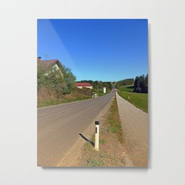 A long non-winding road   landscape photography Metal Print