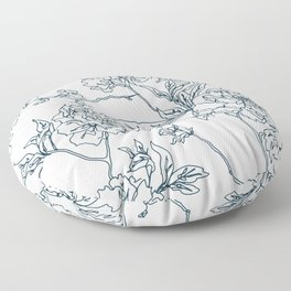 Navy and Cream Vintage Chinoiserie Botanical Floral Toile Wallpaper Pattern Floor Pillow