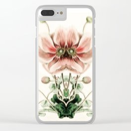 Botanical Flower Glitch IV Clear iPhone Case