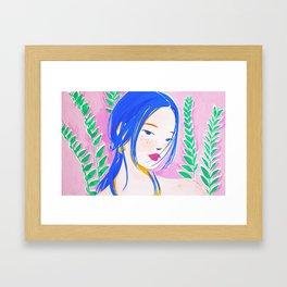 Girl and Aroid Palm Framed Art Print
