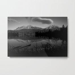 Lassen Volcanic National Park - Mt. Lassen Reflection in Black and White Metal Print