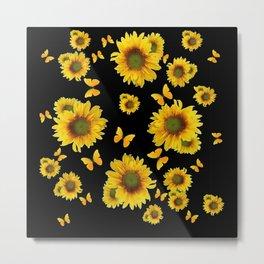 Oriental Style Yellow Fluttering Butterflies Sunflowers Art Metal Print
