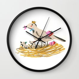 Mother bird feeding presents in the nest to baby Robin Wall Clock