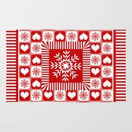 Christmas Gingham Snowflakes and Hearts Rug