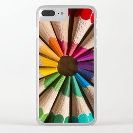 Wooden coloured pencils Clear iPhone Case