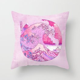 The Great Wave Off Kanagawa-Pink Eruption Throw Pillow