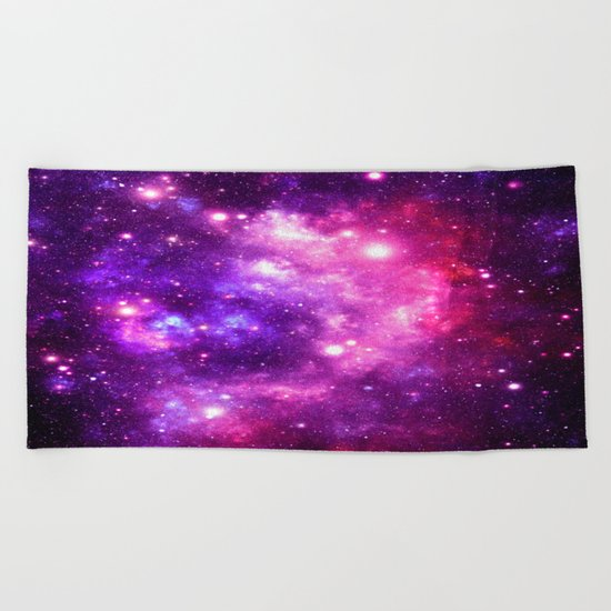 Purple Pink Galaxy Nebula Beach Towel