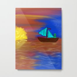 Sunset Voyage with an Extraterrestrial Metal Print