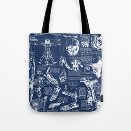 Da Vinci's Anatomy Sketchbook // Regal Blue Tote Bag