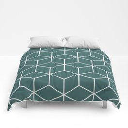 Cube Geometric 03 Teal Comforters