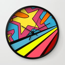 """AFLOAT"" Nova Color & Montana Gold Spray Paint on Reclaimed Canvas 12″ x 36″ x 1.5"" Wall Clock"