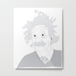 Albert Einstein Illustration Metal Print