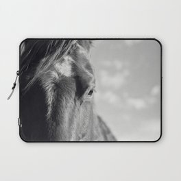 Close Up Horse Picture in Black and White Laptop Sleeve