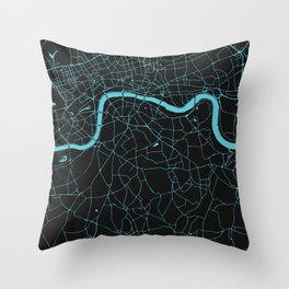 Black on Turquoise London Street Map Throw Pillow