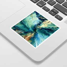 Marbled Ocean Abstract, Navy, Blue, Teal, Green Sticker
