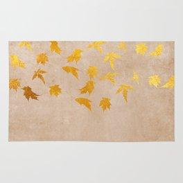 Gold leaves on grunge background - Autumn Sparkle Glitter design #Society6 Rug