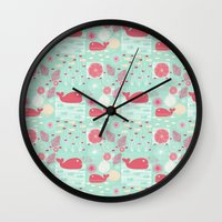whales Wall Clocks featuring Whales by Bexie Doodles