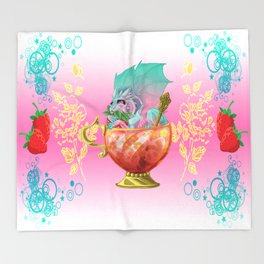 Strawberry Iced Tea Dragon Throw Blanket