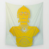 starwars Wall Tapestries featuring StarWars C3PO by Joshua A. Biron