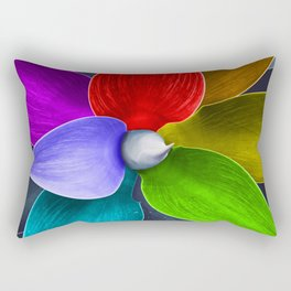 Abstract agave plant leaves painted rainbow colors Rectangular Pillow
