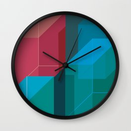 Red and blue 3d blocks Wall Clock