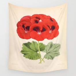 Pelargonium Edward Perkins Vintage Floral Scientific Illustration Wall Tapestry
