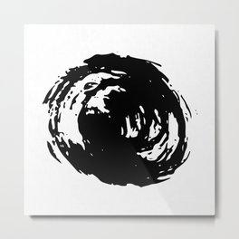 Whorl Black on White Metal Print