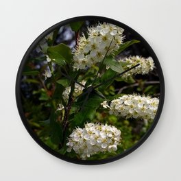 White Cluster Blossoms Wall Clock
