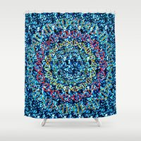 dna Shower Curtains featuring DNA CIRCLE by TileRow