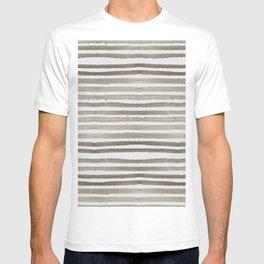 Simply Shibori Stripes Earth Brown on Lunar Gray T-shirt