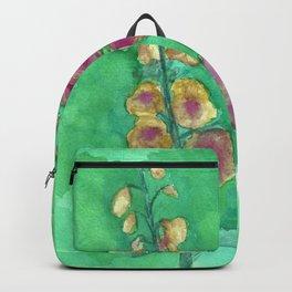 Hollyhock Foxglove Watercolor Honey & Berry on Green Backpack
