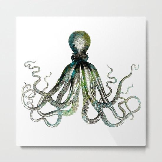 Octopus marine life watercolor art Metal Print