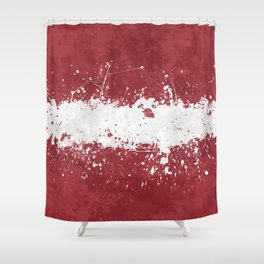 Latvia Flag - Messy Action Painting Shower Curtain