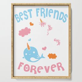 Cute Kawaii Narwhal Unicorn Bff Best Friends Forever Shirt Serving Tray