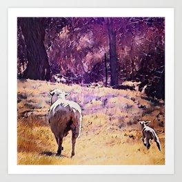 Lamb Frolic with Mama Ewe by CheyAnne Sexton Art Print