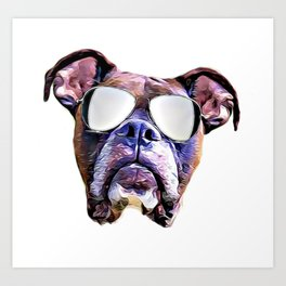 Boxer dog with Glasses Art Print