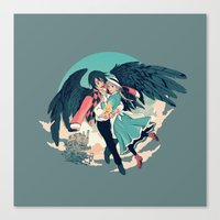 calcifer Canvas Prints featuring Fly Away With Me by Nikittysan