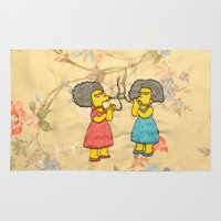 simpsons Area & Throw Rugs featuring Patty and Selma - The Simpsons  by Jessica Maria