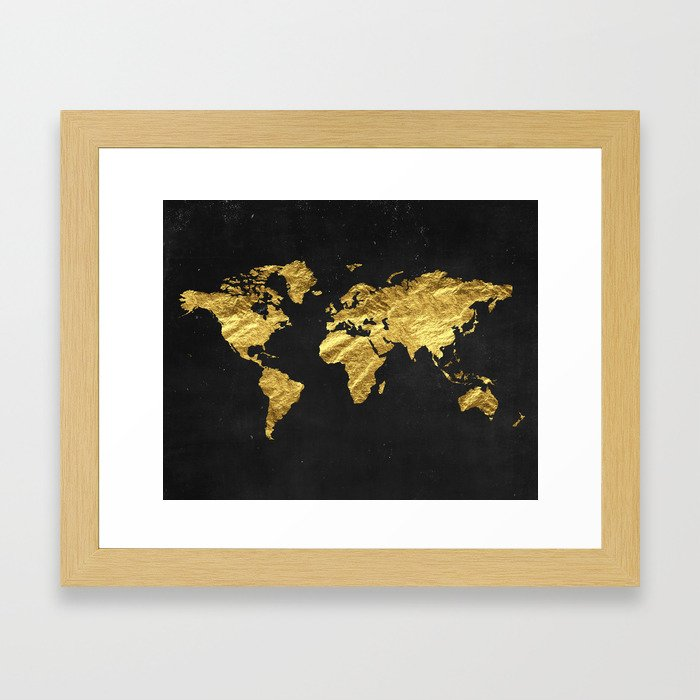 Black gold decor gold world map office decor bathroom glam black gold decor gold world map office decor bathroom glam black wall art framed art print by peachandgold society6 gumiabroncs Images