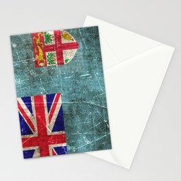 Vintage Aged and Scratched Fiji Flag Stationery Cards