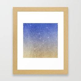 Modern sky blue faux gold ombre glitter Framed Art Print