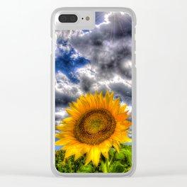 Clouds drift over a sunflower field Clear iPhone Case