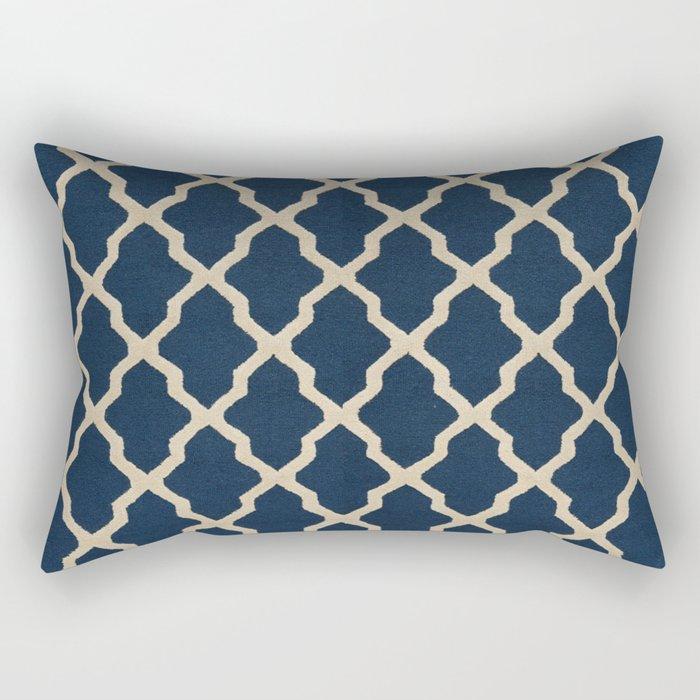 V3 Dark Blue Traditional Moroccan Pattern Texture. Rectangular Pillow