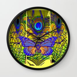 FANTASY PURPLE MONARCH BUTTERFLY PEACOCK FEATHER Wall Clock